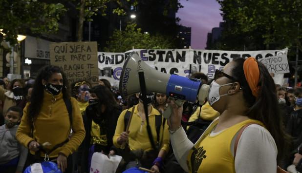 Movilización feminista este miércoles. Foto: Gerardo Pérez.