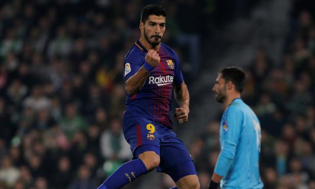 Con su doblete ante el Betis Suárez llegó a 137 goles con el Barcelona