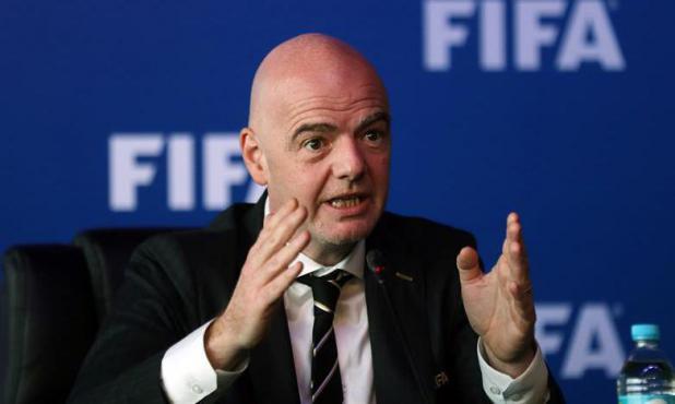 El presidente de la FIFA, Gianni Infantino durante la rueda de prensa en Bogotá. Foto: EFE