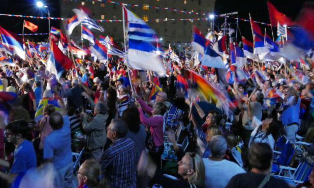 Demostración: en febrero el Frente Amplio convocó un acto de masas por su aniversario para contraponerlo con la movilización del campo. Foto: Ricardo Figueredo