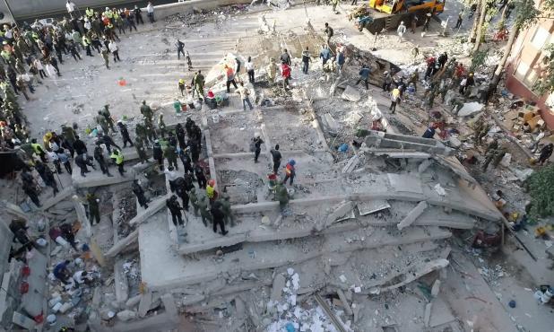 Imágenes aéreas del terremoto en México. Foto: AFP
