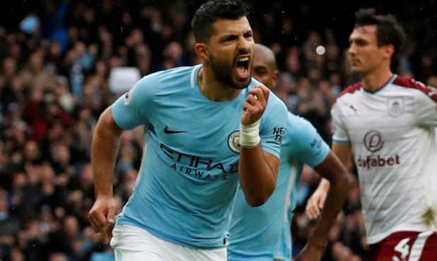 El grito de Sergio Agüero en el Manchester City vs, Burnley. Se trasformó en el goleador histórico del City. Foto: Reuters