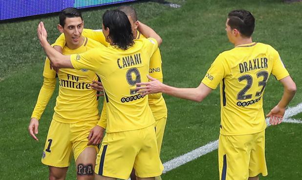 Ángel Di María celebra el gol del empate del PSG ante el Niza