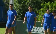 Luis Aguiar con Polenta, Jorge Fucile y Tabaré Viudez